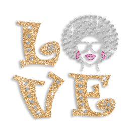 Cool Afro Lady Love Iron-on Glitter Rhinestone Transfer