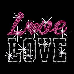 Pink & Crystal Love Heart Iron on Rhinestone Transfer
