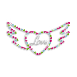 Cutsy Love Heart with Wings Iron-on Nailhead Rhinestone Transfer
