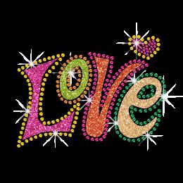 Colorful Pretty Love Heart Glitter Neon Stud Iron-on Transfer