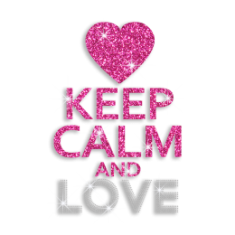 Pink Pretty Keep Calm & Love Iron-on Glitter Rhinestone Transfer