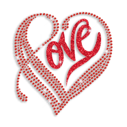 Beautiful Ruby Love Heart Hotfix Glitter Rhinestone Transfer