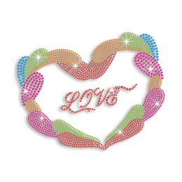 Colorful Love Heart Iron-on Rhinestone Transfer Motif