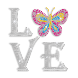 Attracting Butterfly Love Iron-on Rhinestone Transfer