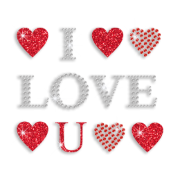 Red Bling I Love You Iron-on Glitter Stud Rhinestone Transfer