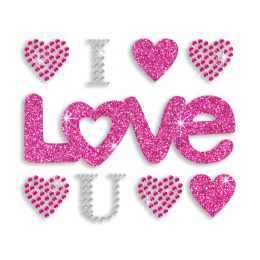 Pink Bling I Love You Iron-on Glitter Stud Rhinestone Transfer