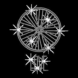 Crystal Wheel of Eternal Love Rhinestone Iron on Transfer