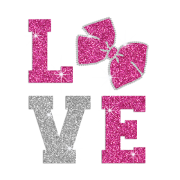 Pink Bow Love Heat Press Rhinestone Glitter Decal