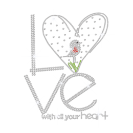 Crystal Love with All Your Heart Hotfix Rhinestone Transfer