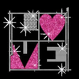 Love Magic Cube Iron on Rhinestone Glitter Transfer Motif