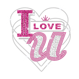 Pink I Love You & Crystal Heart Design Iron-on Rhinestone Transfer