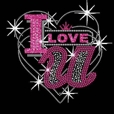 Pink I Love You & Crystal Heart Design Iron-on Rhinestone Transfer