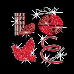Bling Red Presents Of Love Heat Press Rhinestone Glitter Transfer