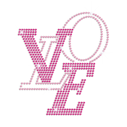 Pink LOVE Bling Rhinestone Custom Heat Transfers