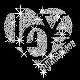 Crystal Love Gymnastics Iron on Rhinestone Transfer Motif