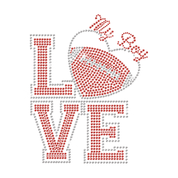 I Love My Boy Football Iron on Rhinestone Transfer Motif