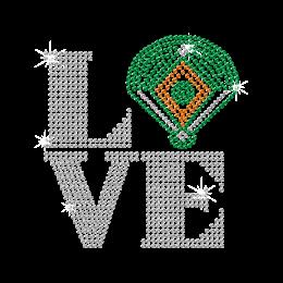 Sparkling I Love Baseball Iron on Rhinestone Transfer Decal