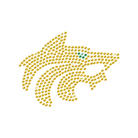 Rhinestone Yellow Crystal Coyote Hot-fix Motif