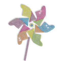 Colorful Pinwheel for Kids Iron on Neon Rhinestud Transfer