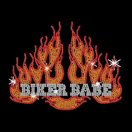 Iron on Biker Baby with Flames Rhinestone Motif