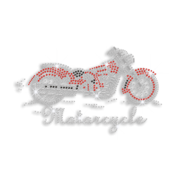 Cool Motorcycle Iron-on Nailhead Rhinestone Transfer