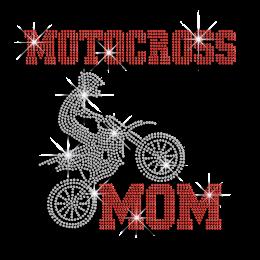 Cool Motocross Mom Heat Press Rhinestone Transfer