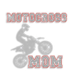 Motocross Mom Support Iron-on Glitter Rhinestone Transfer