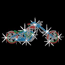 Custom Colorful Motorbike Iron on Rhinestone Transfer