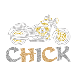 Bling Motorcycle Glittering Chick Iron on Rhinestone Transfer Motif