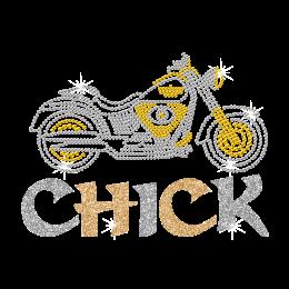 Bling Motorcycle Glittering Chick Iron on Rhinestone Transfer Motif