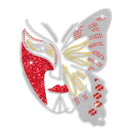 Custom Best Shinning Butterfly Pattern Mask in Red and Crystal Diamante Iron on Transfer Motif