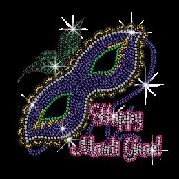 Customized Happy Mardi Gras Hotfix Bling Design