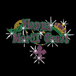 Strass Hotfix Transfer Happy Mardi Gras Crown and Cross