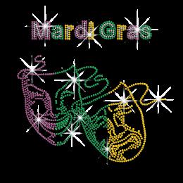 Happy Mardi Gras Mask Iron-on Rhinestone Transfer