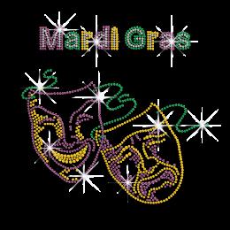 Colorful Mardi Gras Mask Iron-on Rhinestone Transfer Decal