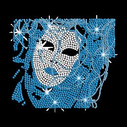 Teal Lady's Mask Iron-on Nailhead Stud Rhinestone Transfer