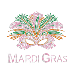 Colourful Mardi Gras Mask Iron on Rhinestone Pattern