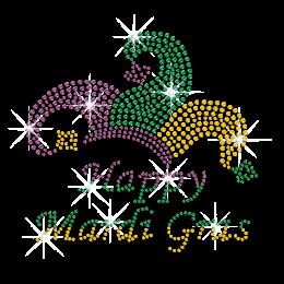 Gradual Colors Happy Mardi Gras Iron on Bling Transfer