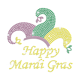 Bright Yellow Happy Mardi Gras Iron on Bling Transfer