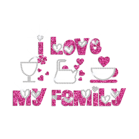 I Love My Bling Family Iron on Rhinestone Glitter Transfer Decal