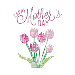 Happy Mother's Day with Beautiful Flowers Rhinestone Iron On