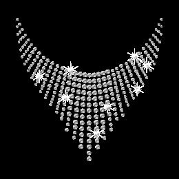 Rhinestone Crystal Heart Shape Necklace Iron on Transfer
