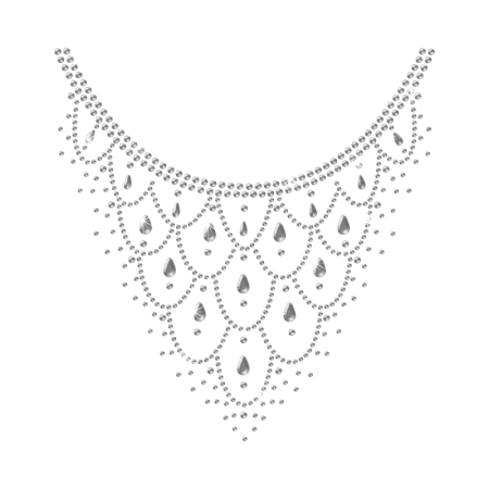 Iron on Necklace with Water Drop Nailhead Rhinestone Motif