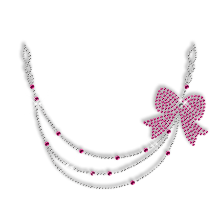 Crystal and Pink Rhinestone Necklace Iron on Motif for Clothe