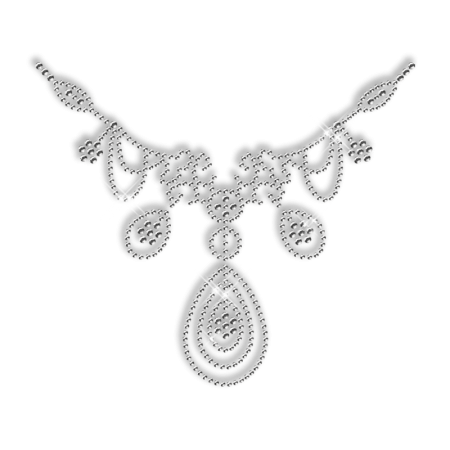 Sparkling Crystal Rhinestone Necklace Iron on Motif for Clothes