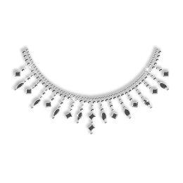 Crystal Rhinestone and Nailhead Necklace Iron on Motif for Clothes