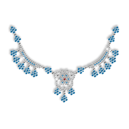 Shinning Blue Rhinestone Necklace Iron on Motif for Clothes