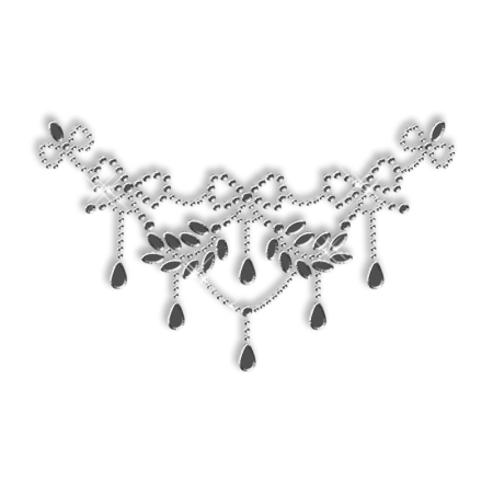 Sparkling Nailhead and Rhinestone Necklace Iron on Transfer for Clothes
