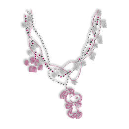 Lovely Rhinestone Necklace with Little Dogs Iron on Transfer for Clothes