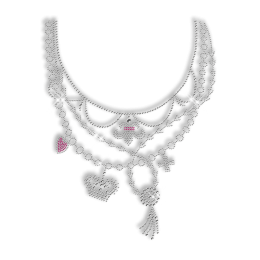 Shinning Rhinestone and Rhinestud Necklace Iron on Motif for Clothes
